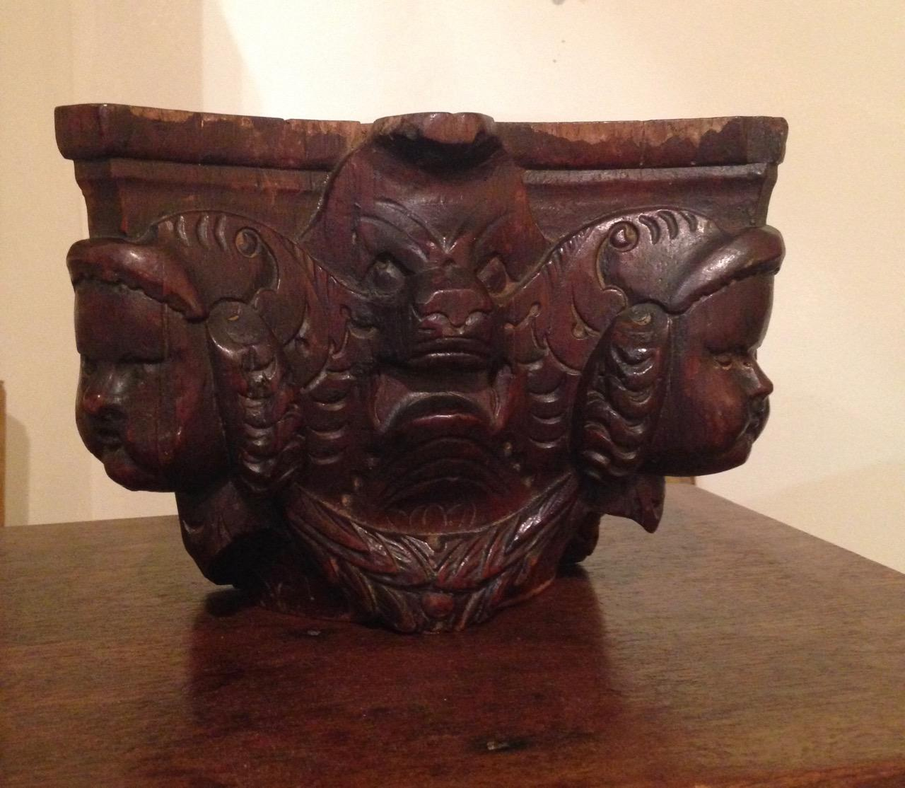 !7th Century Carved Oak Capital