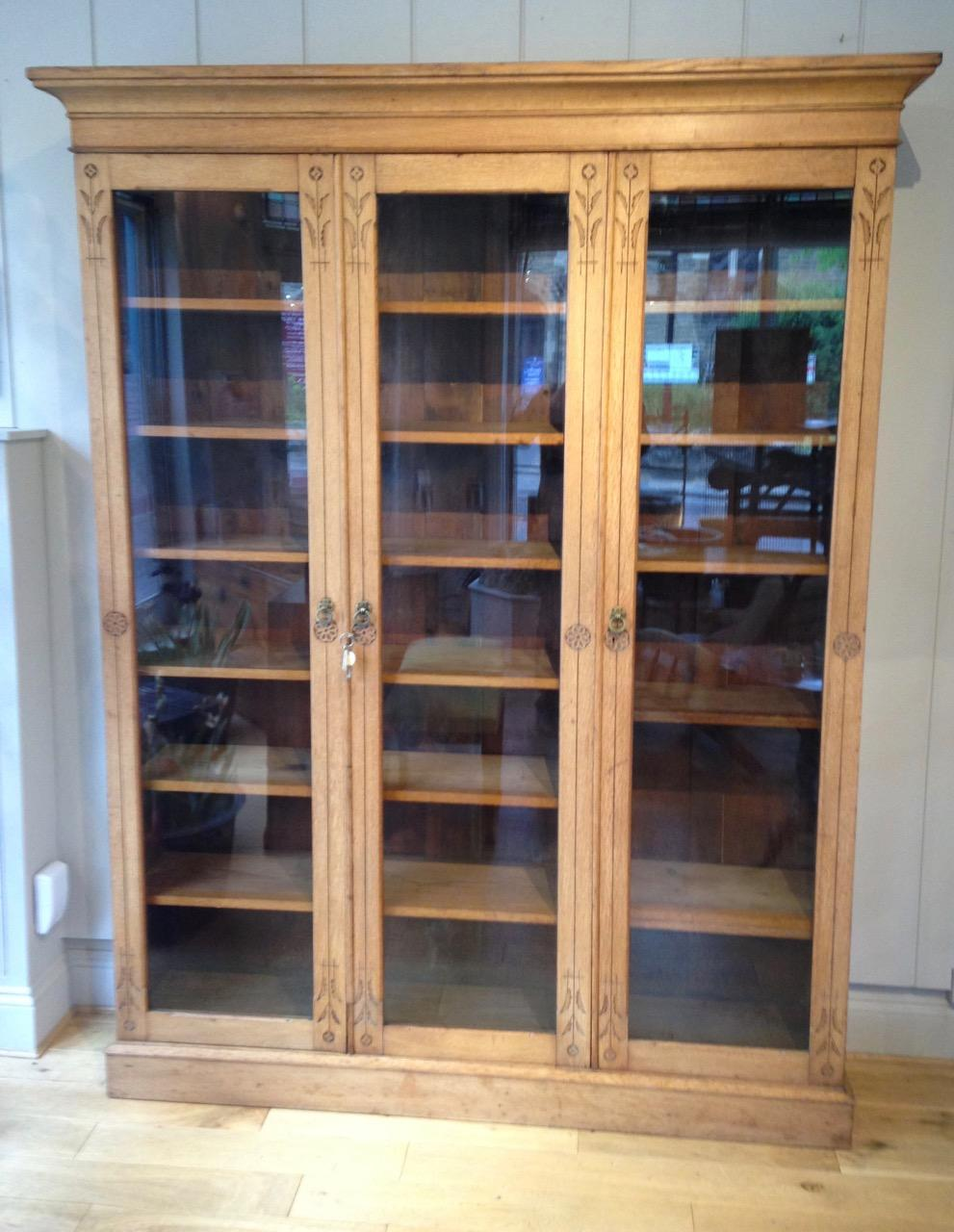 Antique Light Oak Bookcase / Storage Cupboard