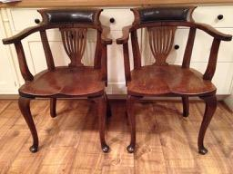 Antique Pair of Oak Chairs