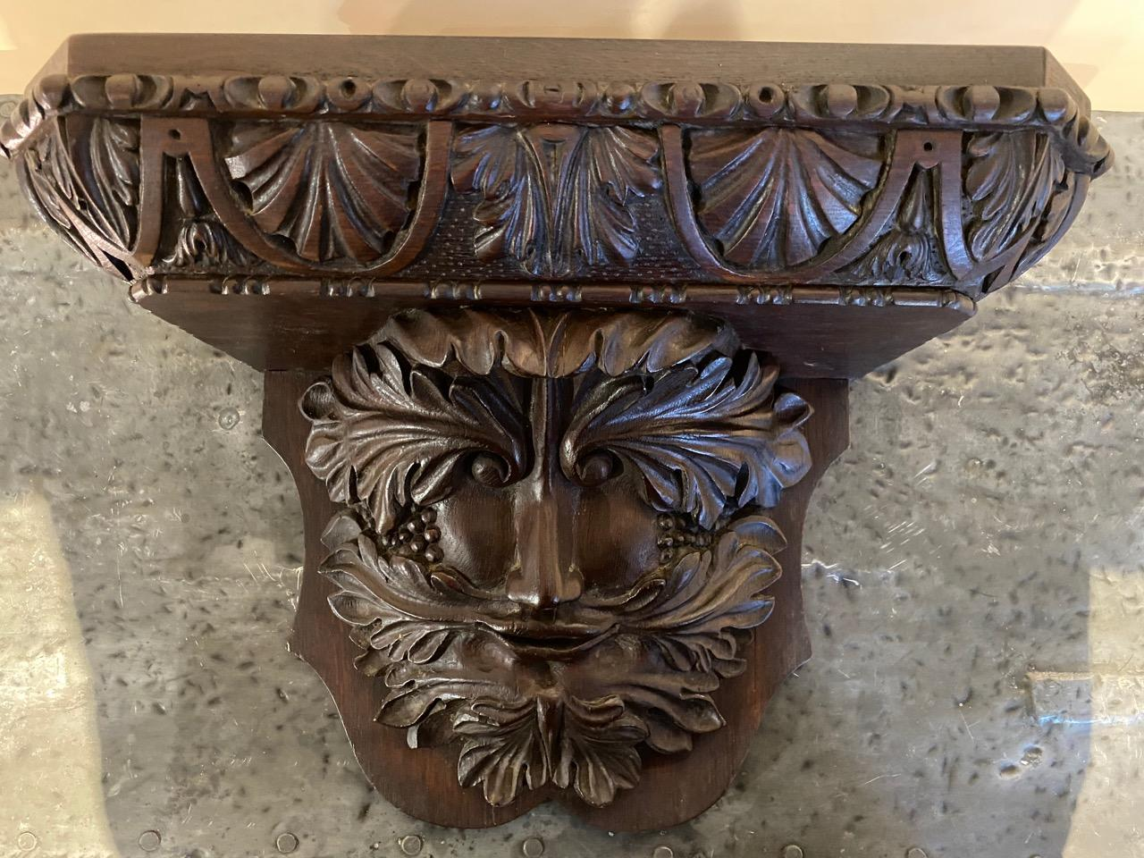 Carved Green Man Wall Bracket
