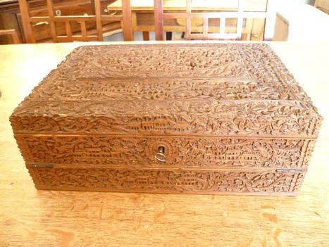 Carved Sandlewood Writing Box