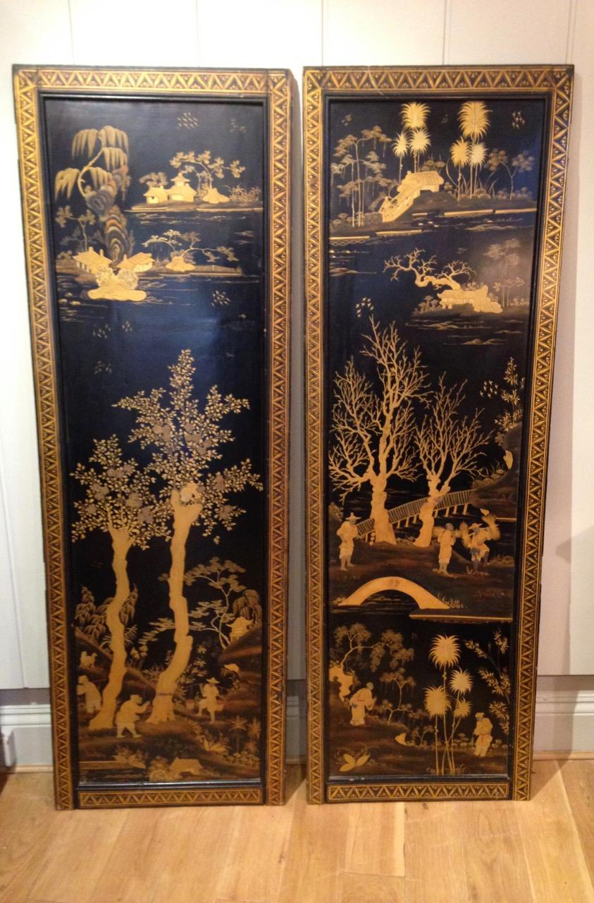 Chinese Export Lacquer Panels