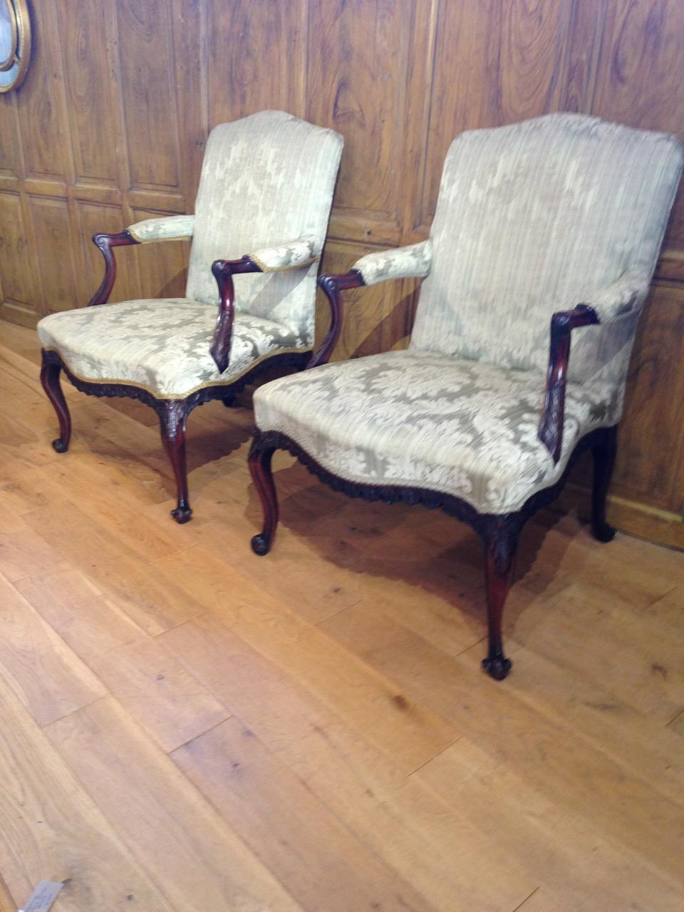 Pair of Chippendale Style Open Arm Chairs