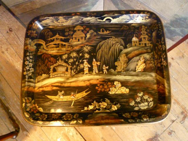 Papier Mache Tray on Stand
